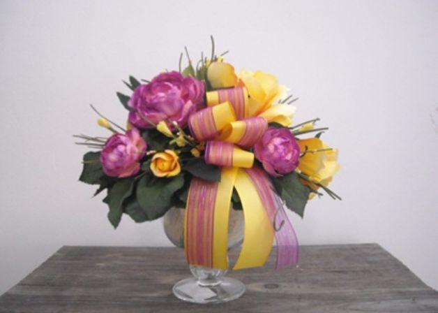 Super Come creare centrotavola fai da te composizione fiori finti  AO22